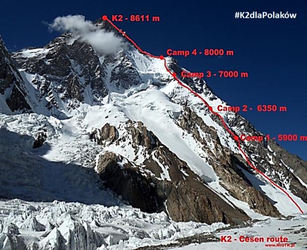 Planowa droga wspinaczki na K2, droga Basków, nazywana też drogą Cesena (fot. Marcin Miotk)