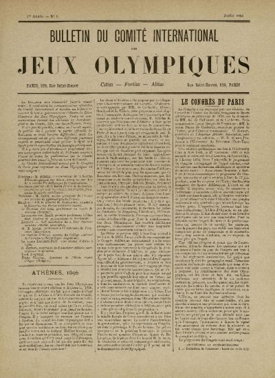 Pierwszy biuletyn Międzynarodowego Komitetu Olimpijskiego, lipiec 1894
