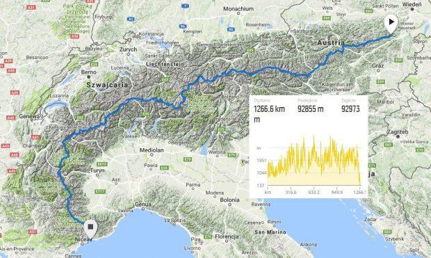 """""""Narciarski Trawers Alp"""" - planowana trasa"""