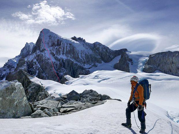 Przebieg drogi King Kong na Cerro Riso Patrón Sud (fot. Matteo Della Bordella i Silvan Schüpbach)