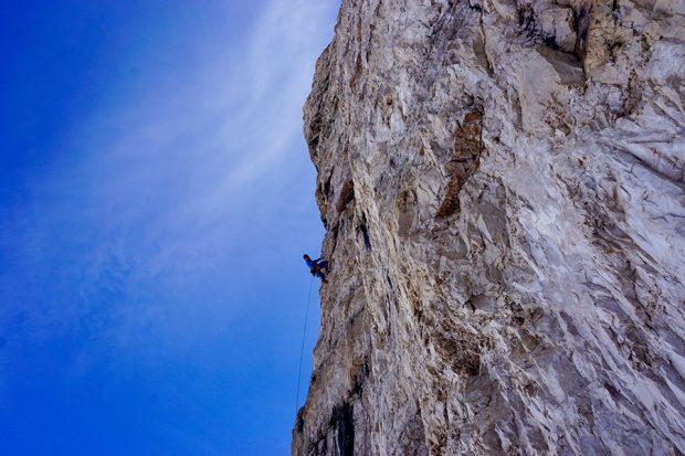 """Wspinanie na """"La Strada"""", Cima Grande di Laveredo (fot. Simon Gietl)"""