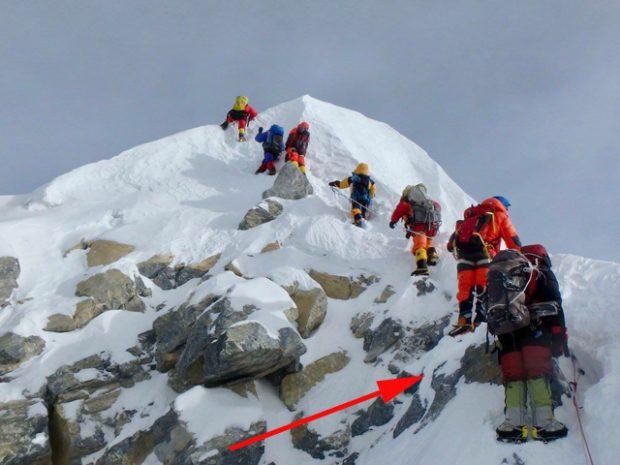 Miejsce, w którym znajdował się Stopień Hillarego, 2018 (fot. Mingma Gyalje Sherpa)