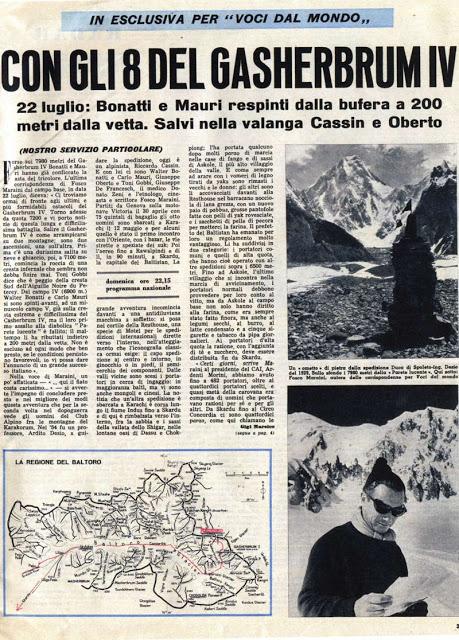 Artykuł w włoskiej prasy o wyprawie na Gaszerbrum IV