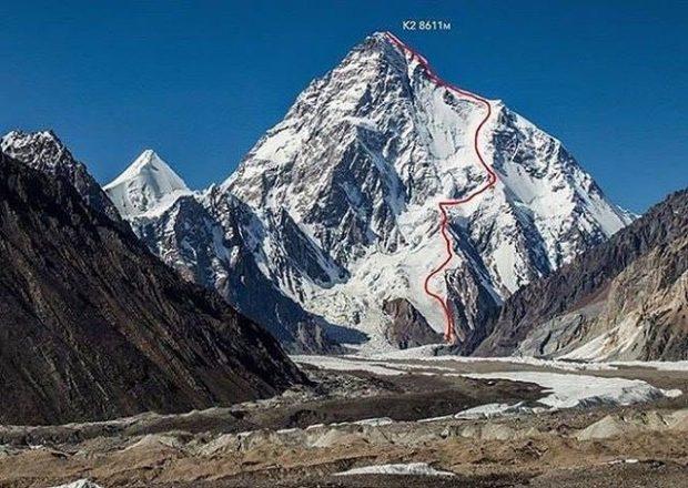 Linia zjazdu Andrzeja Bargiela z K2