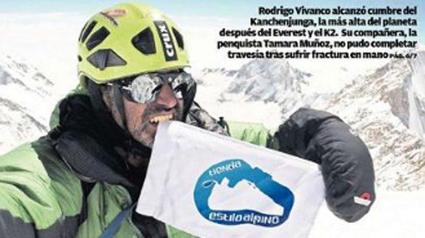 Zrzut ekranowy z dodatku sportowego gazety El Sur, kiedy opisywał wejście Rodrigo Vivanco na Kanczendzongę