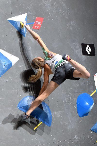 Janja Garnbret na trzecim boulderze (fot. wspinanie.pl)
