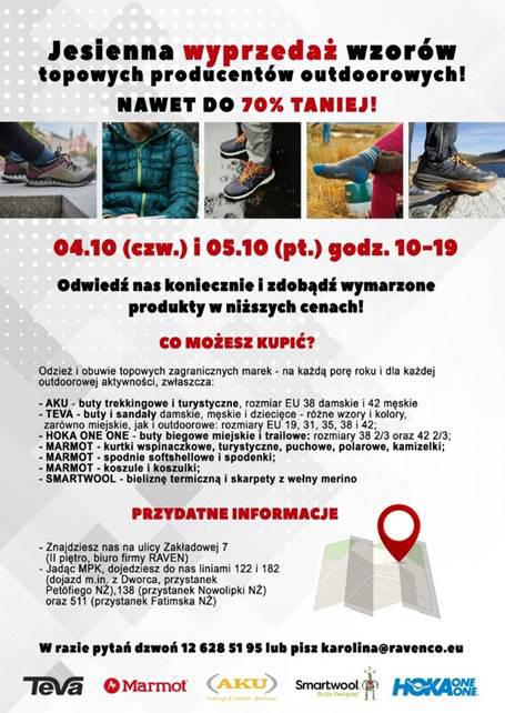 88980b6be2ba19 Odwiedźcie nas 4 i 5 października w godzinach 10-19. Mieścimy się w  Krakowie przy ul. Zakładowej 7 w dzielnicy Nowa Huta. Dochodzące do 70%  rabaty uzyskacie ...