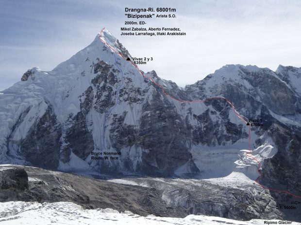 """Bizipenak"" ED- 2000 m, Dragnag-Ri (6801 m), Mikel Zabalza, Alberto Fernandez, Iñaki Araquistain, Joseba Larrañaga"