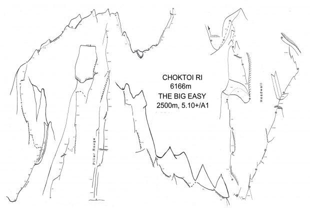 """The Big Easy"" (2500 m, 5.10+/A1), Choktoi Ri (6166 m)"