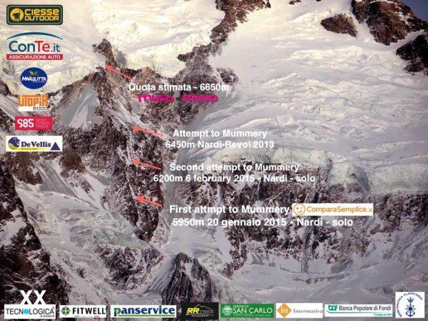 Nanga Parbat, dotychczasowe próby na Żebrze Mummery'ego (fot. FB Daniele Nardi)