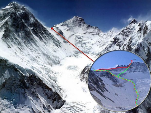 Możliwe warianty przejścia z Mount Everest (Przełęczy Południowej) na Lhotse (fot. Oxigeno)