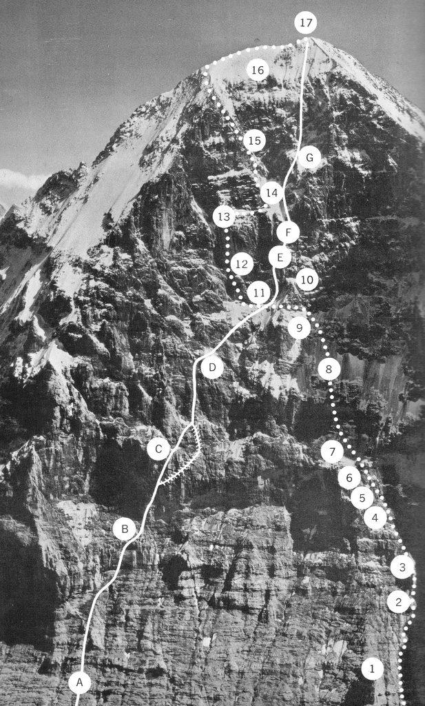 "Eiger: Droga klasyczna i Direttissima Harlina (© Bradford Washburn z książki J.R. Ullmana ""Straight up"")"