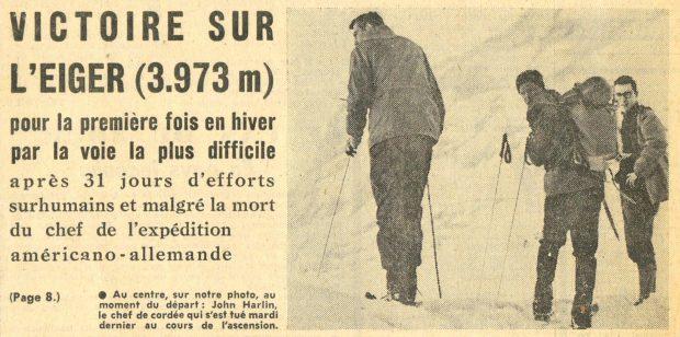 """Fragment artykułu z """"Tribune de Lausanne"""", na zdjęciu Kor, Harlin i Gillman (archiwum Piotra Paćkowskiego)"""