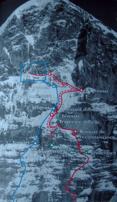 Próby Sedlmayra (niebieski szlak) i Kurza (czerwony) (fot. archiwum Piotra Paćkowskiego)