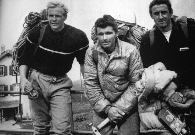 John Harlin, André Bertrand i René Desmaison po próbie na direttissimie w 1965 (© Ringier Bild Zürich)