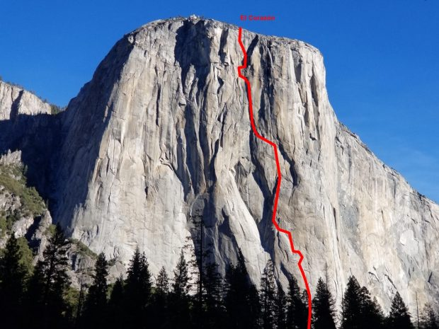 """Przebieg """"El Corazon"""", El Capitan, Yosemite (fot. easyclimbing.blogspot.com)"""