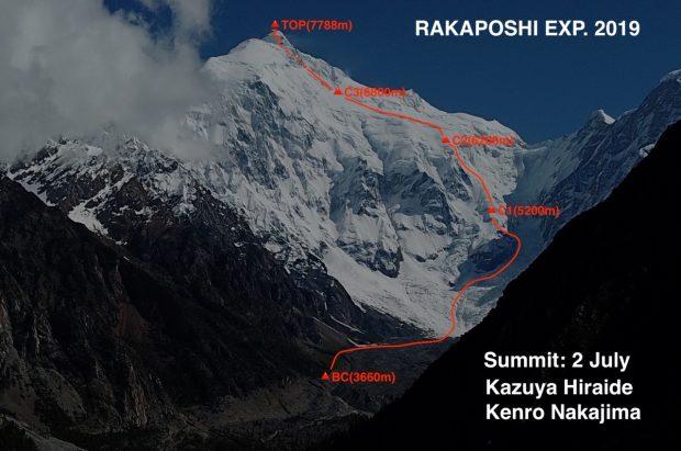 Południowa ściana Rakaposhi i przebieg wspinaczki zespołu Kazuya Hiraide i Kenro Nakajima (fot. FB Reiko Terasawa)