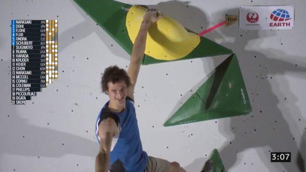 Adam Ondra sfleszował trzeci problem półfinałów, od tego momentu zwycięstwo w rundzie miał już w kieszeni