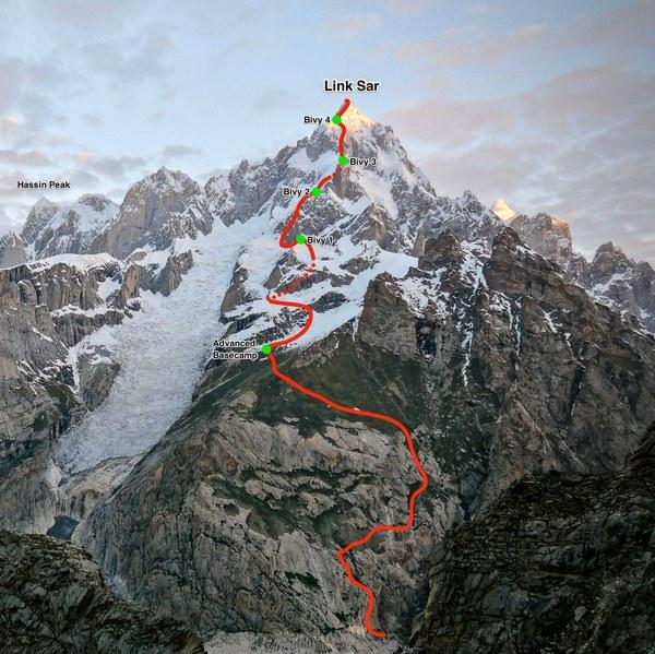 Droga pierwszego wejścia na Link Sar (7,041m) od południowo-wschodniej strony, M6+ WI4 90°, 2300 m