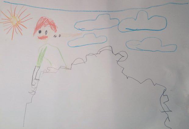 """Olek, 5 lat: """"Dorysowałem słońce żeby nie było Ci zimno na tej górze"""""""