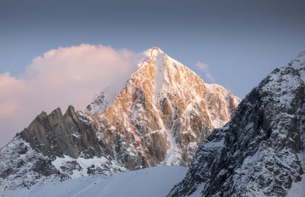 """Tcheu c'te panthère"" (ED, AI5+/6, 1300 m), Grosvenor (6376 m)"