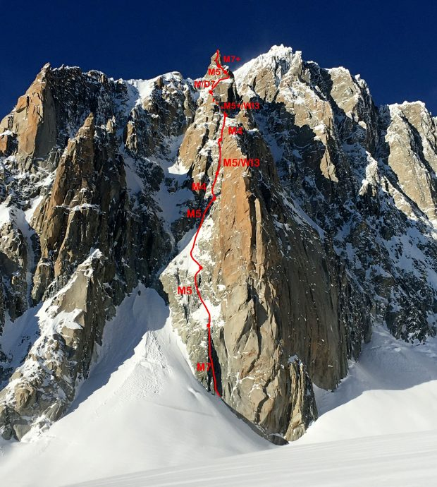 """""""Forza Gioele"""", Pointe de l'Androsace, Mont Maudit, masyw Mont Blanc"""
