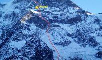 """""""Polski Kuluar"""" TD+ M6/6+ R, 80° 1000 m, Grosshorn NW 3673 m n.p.m."""