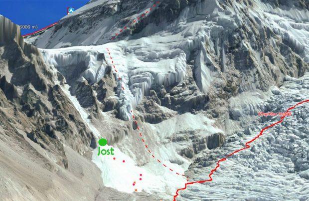 Punkt osiągnięty przez Josta (fot. altitude.news)