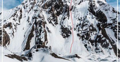 Mitre Peak z wrysowaną linią planowanej drogi