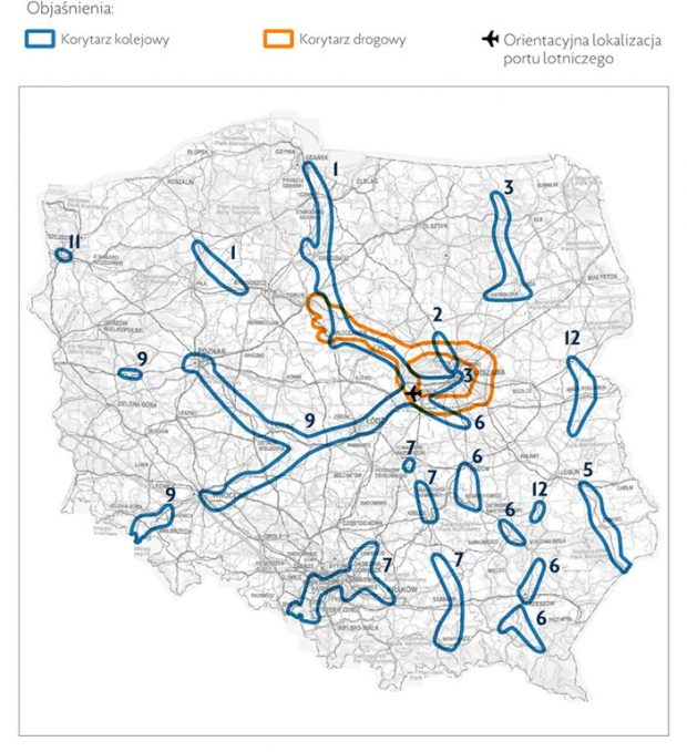 Strategiczne Studium Lokalizacyjne Inwestycji Centralnego Portu Komunikacyjnego - inwestycje drogowe i kolejowe planowane w związku z budową CPK