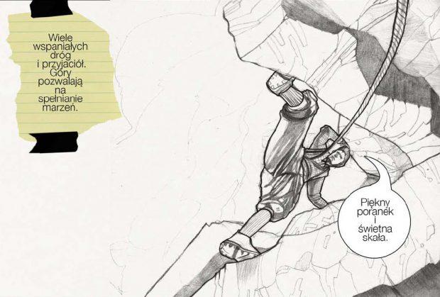 """Jeden z rysunków z """"Hermann Buhl – Liczy się to co wielkie i piękne"""""""