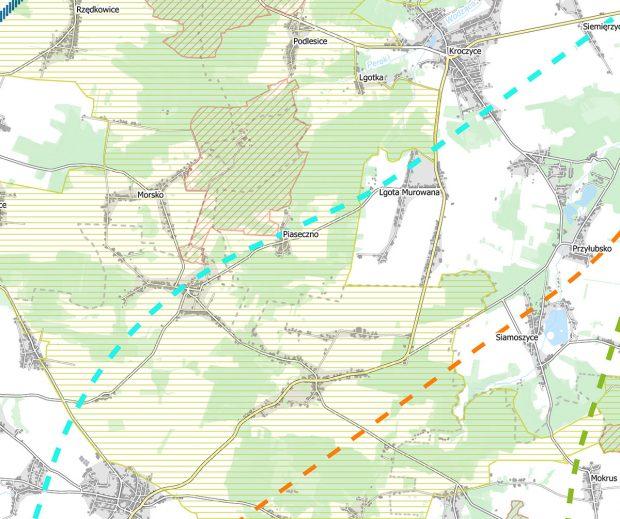 Planowane przebiegi linii kolejowych przez Jurę Północną