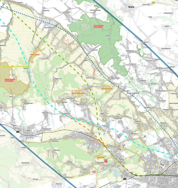 Planowane przebiegi linii kolejowych przez Jurę Południową