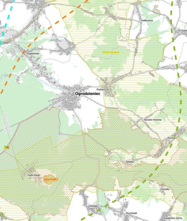 Planowane przebiegi linii kolejowych przez Jurę Środkową