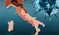 Mapa pokazująca skalę zachorowań na koronawirusa we Włoszech (rys. The Sun, 9 marca 2020)