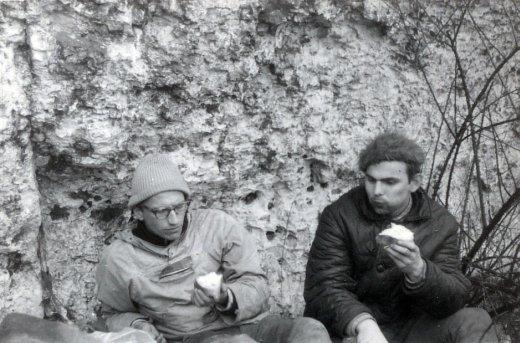 Jan Kiełkowski i Janusz Majer w Skałkach Jerzmanowickich w 1965 (fot. arch. Janusz Majer i lojanci.org)