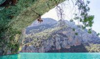 "Chris Sharma makes na ""Trick or Tree"" 8b+, Mont-Rebei (fot. Ricardo Giancola)"