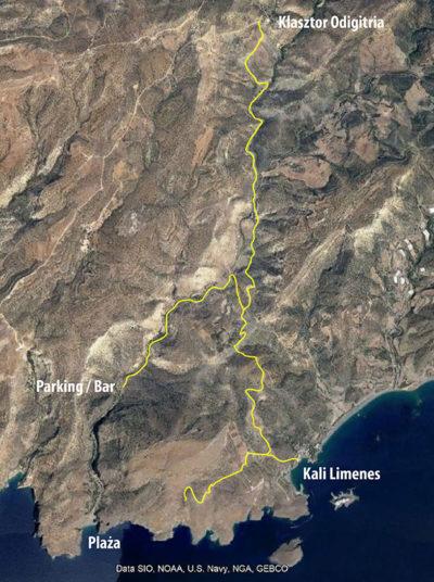 Mapa dojazdu do Agiofarago, wyróżnione żółte drogi to szutry (podkład Google Maps)