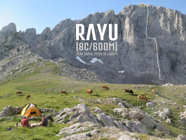"""Rayu"" (8c, 600 m), Pena Santa, Picos de Europa"