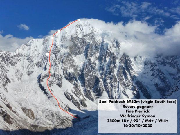 """Revers Gagnant"" (ok. 2500 m, M4+ WI4+ 90°), pd. ściana i pd.-zach. grań Sani Pakkush, Pierrick Fine i Symon Welfringer, 16-1.X.2020"