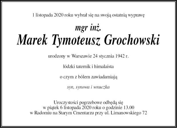 Uroczystości pogrzebowe Marka Grochowskiego odbędą się w piątek 6 listopada o godzinie 13:00 w Radomiu na Starym Cmentarzu przy ul. Limanowskiego 72