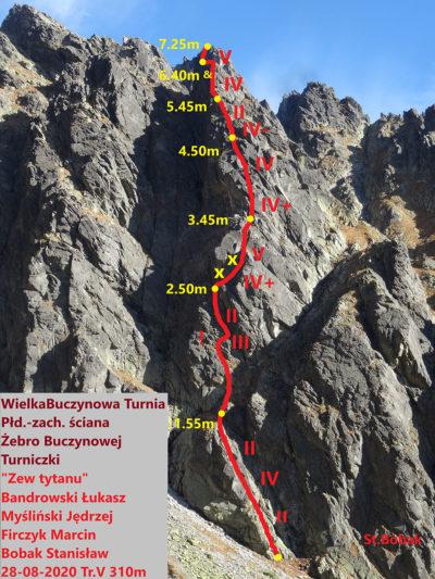 """""""Zew tytanu"""" (V 310 m), Wielka Buczynowa Turnia - Bandrowski Łukasz, Firczyk Marcin, Myśliński Jędrzej, Bobak Stanisław"""