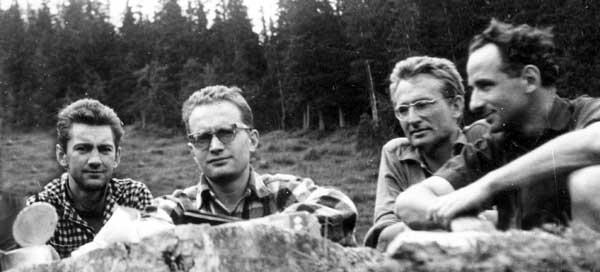 Pod Eigerem 1961. Od lewej: Czesław Momatiuk, Jan Długosz, Stanisław Biel i Jan Mostowski. Fot. Czesław Momatiuk