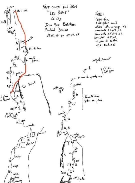 """Oryginalny schemat """"Les Papas"""" na Petit Drus z przejścia z roku 2007 wraz z naniesionymi wariantami z roku 2021 (na czerwono)"""
