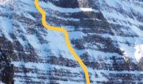 Just a Nibble (M6R, 5.10-, WI5, 500m) na północno-wschodniej ścianie Mount Niblock