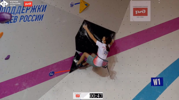 Maja Oleksy na kluczowym dla wyniku problemie pierwszym półfinałów w Permie