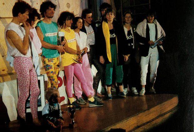 Podium w Vaulx-en-Velin. 1986 rok. Od lewej: Jacky Godoffe, Isabelle Patissier, Philippe Steulet, Robert Cortijo, Renée Guérin, Martin Atkinson, Cristophe Frendo, Françoise Lepron, Françoise Pevsner, Christine Grouiller