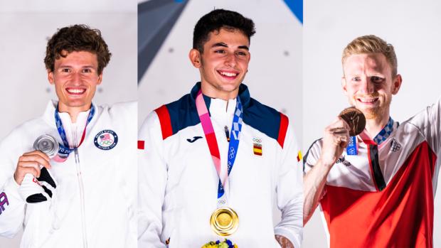 Męskie podium: 1. Alberto Gines Lopez ESP, 2. Nathaniel Coleman USA, 3. Jakob Schubert AUT (fot. Daniel Gajda/IFSC)