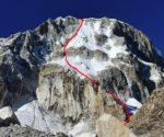 """Linia drogi """"Mazohizem"""" (ED-, M7, 1000 m), Ranrapalca, Peru"""