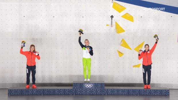 Kobiece podium Igrzysk Tokyo 2020: 1. Janja Garnbret SLO, 2. Miho Nonaka JPN, 3. Akyio Nouguchi JPN